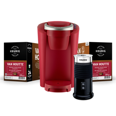 Keurig® K-Compact™ (Red) with Milk Frother & Van Houtte® K-Cup® Pods