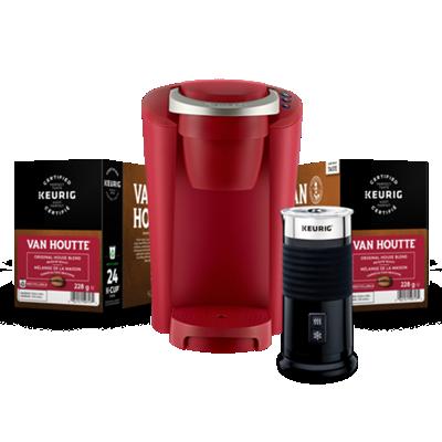 Assortiment Keurig® K-Compact MC (Rouge) composé d'un Mousseur à lait et de capsules K-Cup® Van Houtte®