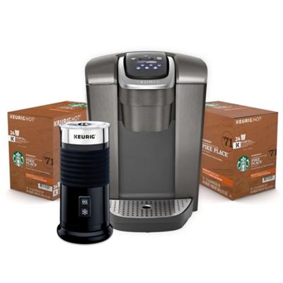 Assortiment Keurig® K-Elite MC(Ardoise Brossé) composé de Mousseur à lait et de capsules K-Cup® Starbucks®