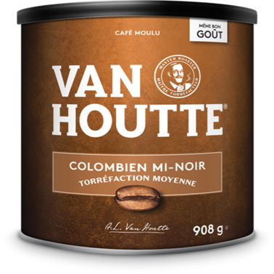 Café moulu colombien mi-noir