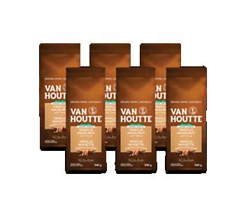 Café moulu vanille noisette déca